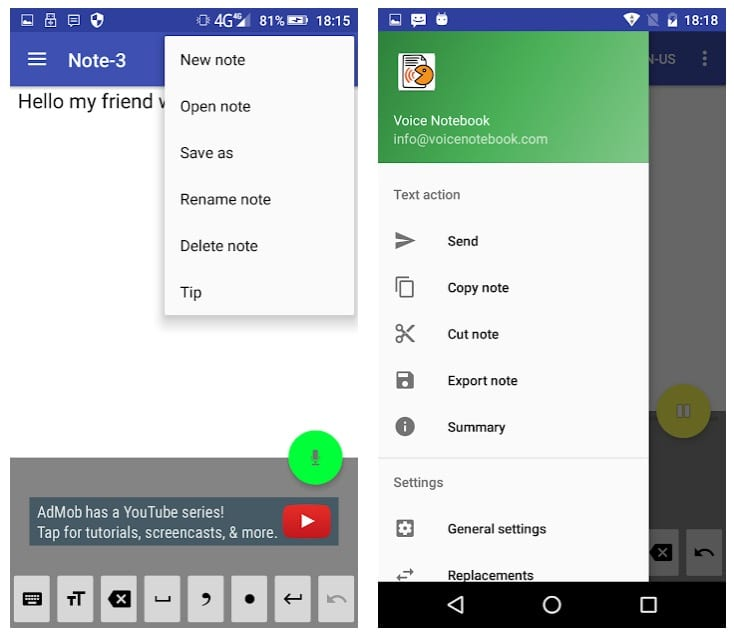 Voice Notebook app android